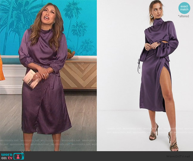 High Neck Gathered Sleeve Satin Drape Dress by Uniqiue21 at ASOS worn by Carrie Inaba  on The Talk