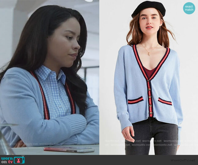 Sloane Striped V-Neck Cardigan by Urban Outfitters worn by Mariana Foster (Cierra Ramirez) on Good Trouble