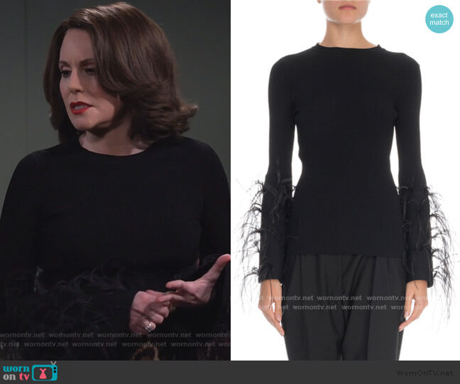Feather-Cuff Crewneck Sweater by Valentino worn by Karen Walker (Megan Mullally) on Will & Grace