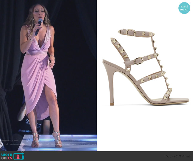 Garavani Rockstude Cage Sandals by Valentino worn by Melissa Gorga  on The Real Housewives of New Jersey