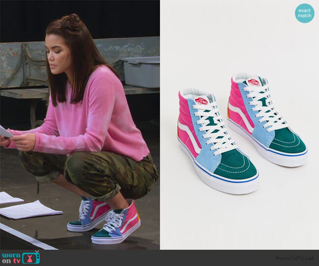 SK8-Hi frayed color block sneakers by Vans worn by Alexa Mendoza (Paris Berelc) on Alexa & Katie