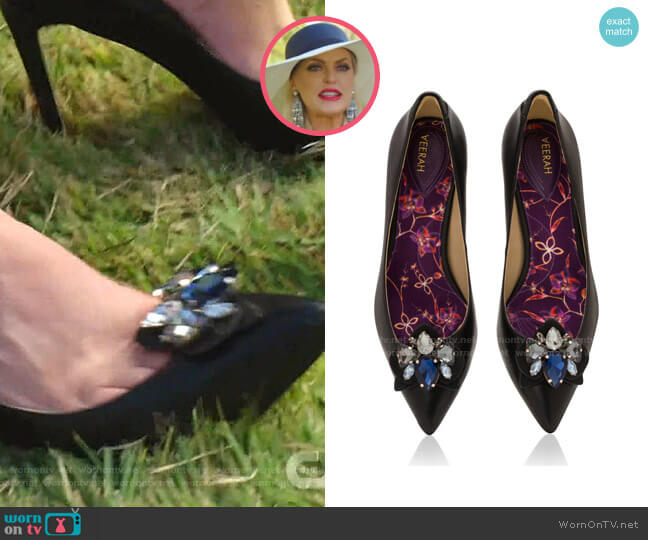 Frida Pumps and Orchid Brooch by Veerah worn by Alexis Carrington (Elaine Hendrix) on Dynasty