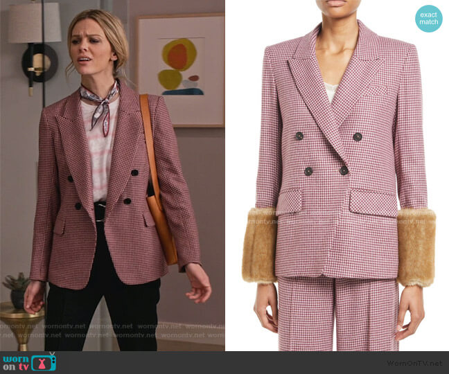 Fahey Houndstooth Dickey Jacket with Faux-Fur Cuffs by Veronica Beard  worn by Mallory (Brooklyn Decker) on Grace & Frankie
