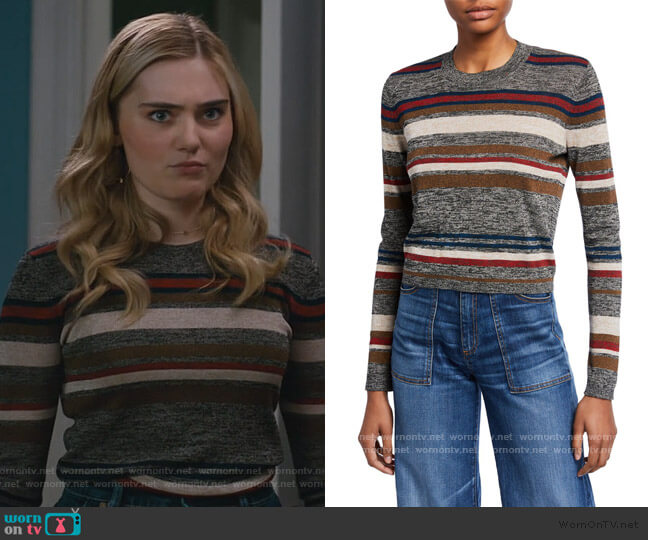 Jora Cropped Striped Pullover by Veronica Beard worn by Taylor Otto (Meg Donnelly) on American Housewife