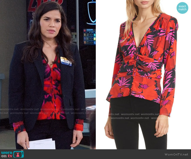 Veronica Beard Pevero Floral Stretch Silk Top worn by Amy (America Ferrera) on Superstore
