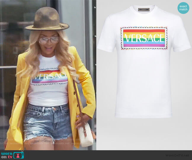 X Pride Logo T-Shirt by Versace worn by Yovanna Momplaisir on The Real Housewives of Atlanta