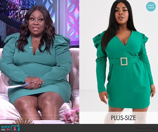 Deep Plunge Midi Dress with Statement Shoulder in Emerald Green by Vesper worn by Loni Love  on The Real