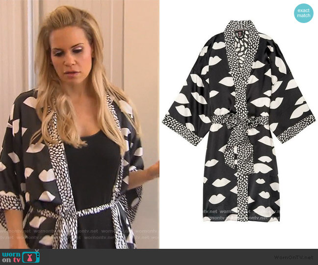 Lip Print Robe by Victoria Secret worn by Jackie Goldschneider  on The Real Housewives of New Jersey