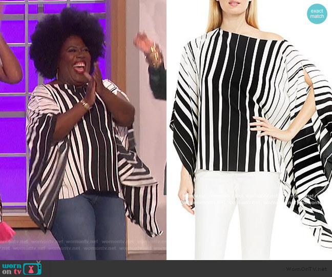 Accordion Stripe Poncho Top by Vince Camuto worn by Sheryl Underwood  on The Talk