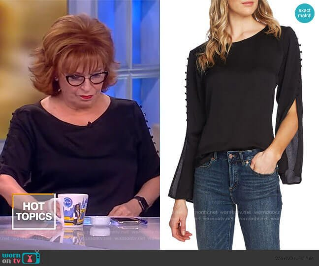 Button Split Sleeve Hammered Satin Top by Vince Camuto worn by Joy Behar  on The View