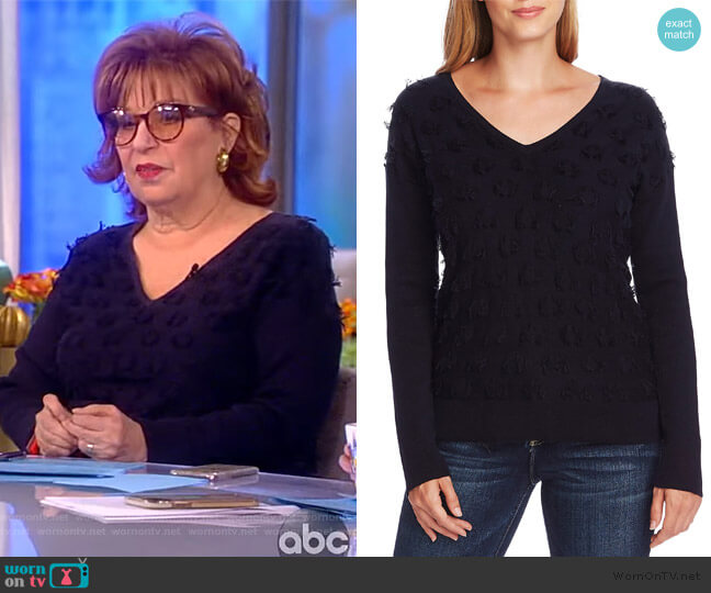 Floating Fringe Dot V-Neck Sweater by Vince Camuto worn by Joy Behar  on The View