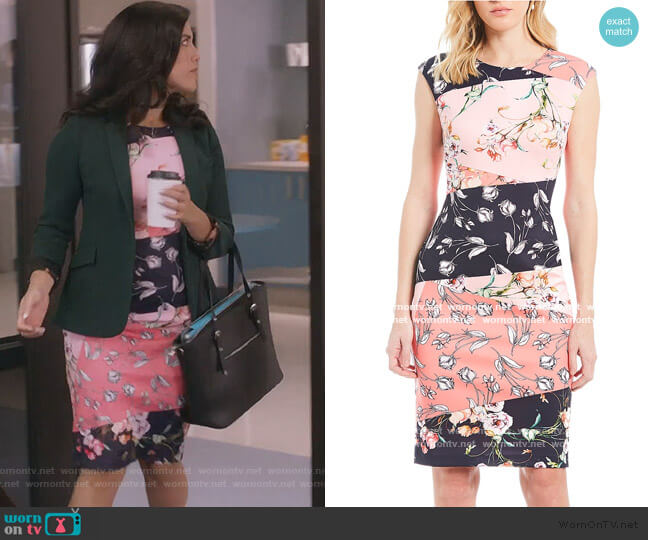 Colorblock Floral Print Sheath Dress by Vince Camuto worn by Shannon Ross (Nicole Power) on Kims Convenience