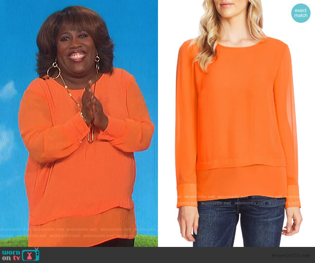 Layered Rumple Georgette Top by Vince Camuto worn by Sheryl Underwood  on The Talk