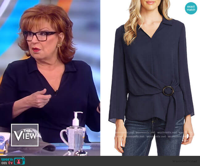 Rumple V-Neck Belted Blouse by Vince Camuto worn by Joy Behar  on The View