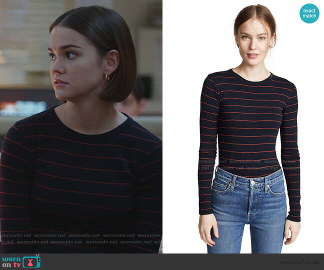 Chalk Stripe Crew Tee by Vince worn by Callie Foster (Maia Mitchell) on Good Trouble