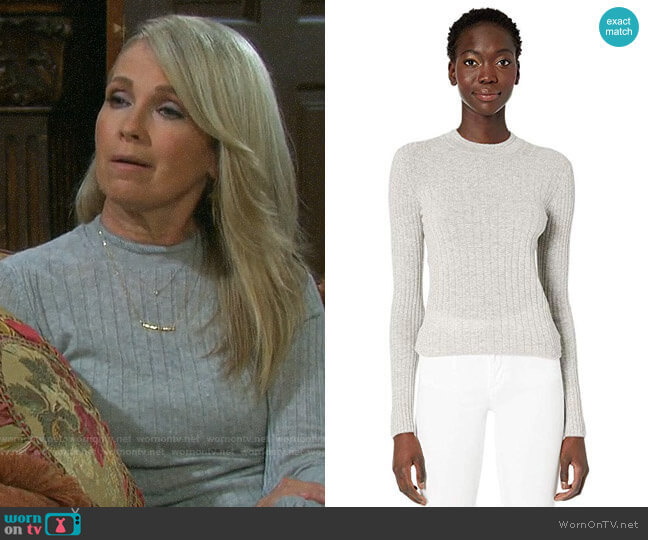 Vince Mixed Rib Long Sleeve Sweater Heather Steel worn by Jennifer Horton (Melissa Reeves) on Days of our Lives