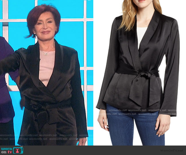 Satin Belted Blazer by Vince Camuto worn by Sharon Osbourne  on The Talk
