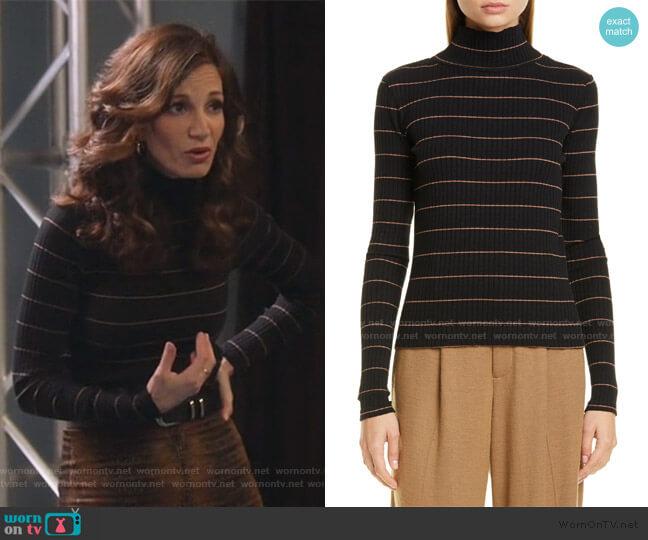 Stripe Rib Stretch Cotton Turtleneck Sweater by Vince worn by Jama Williamson on Single Parents