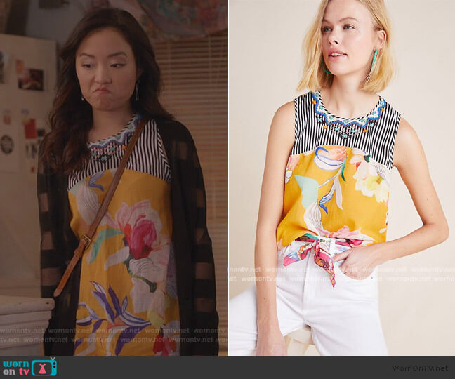 Elle Embroidered Top by Vineet Bahl worn by Janet (Andrea Bang) on Kims Convenience