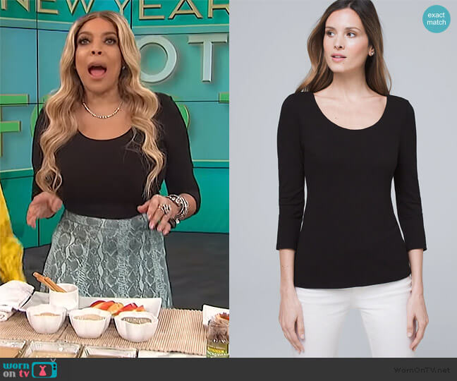 Dual-Neck Jacquard Top by White House Black Market worn by Wendy Williams  on The Wendy Williams Show