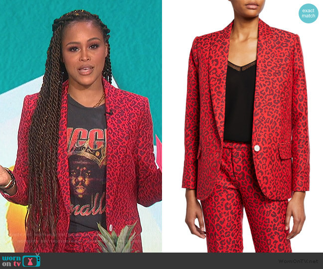 Viking Leopard-Print Jacquard Jacket and Pants by Zadig & Voltaire worn by Eve  on The Talk