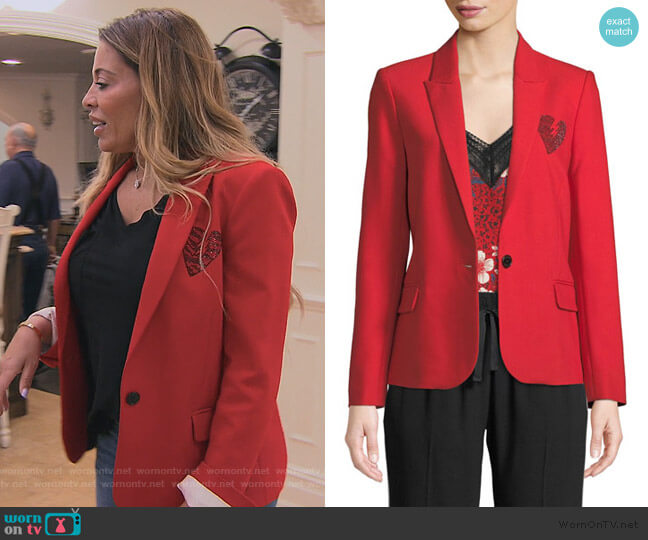 Amour Embellished Blazer Jacket by Zadig & Voltaire worn by Dolores Catania  on The Real Housewives of New Jersey