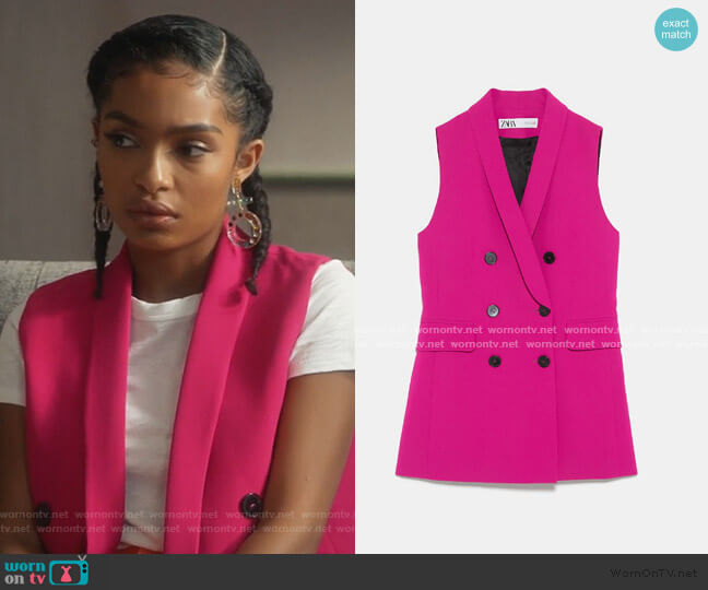 Buttoned Vest by Zara worn by Zoey Johnson (Yara Shahidi) on Grown-ish