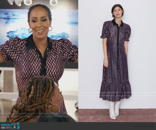 Dress with Metallic Thread by Zara worn by Tanya Sam on The Real Housewives of Atlanta