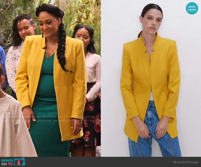 Zara Inverted Lapel  Frock Coat worn by Cocoa McKellan (Tia Mowry-Hardrict) on Family Reunion
