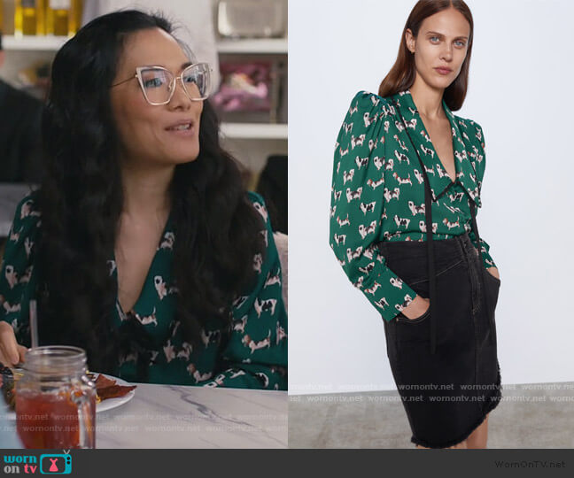 Printed Blouse with Scoop Neck by Zara worn by Doris (Ali Wong) on American Housewife