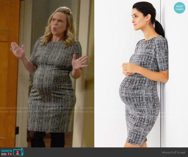 A Pea in the Pod Textured Bodycon Maternity Dress worn by Kristin Baxter (Amanda Fuller) on Last Man Standing