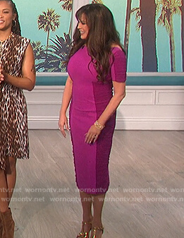 Marie's pink ruched sides sheath dress on The Talk