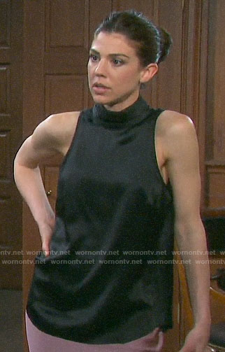 Abigail's black satin mock-neck top on Days of our Lives