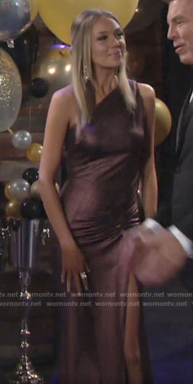 Abby's bronze one-shoulder NYE dress on The Young and the Restless