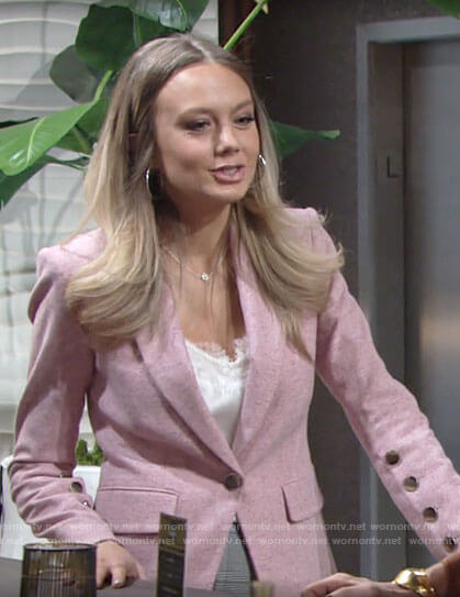 Abby's pink buttoned sleeve blazer on The Young and the Restless