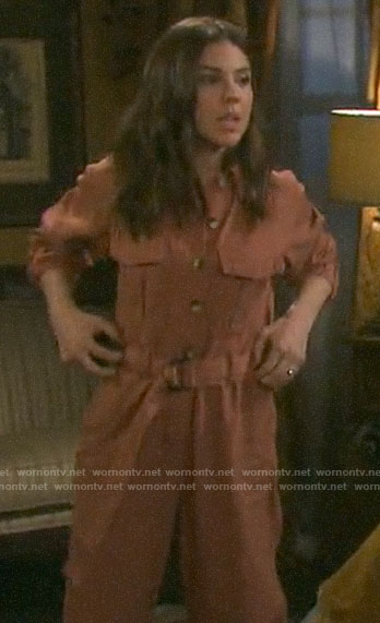 Abigail's coral pink jumpsuit on Days of our Lives