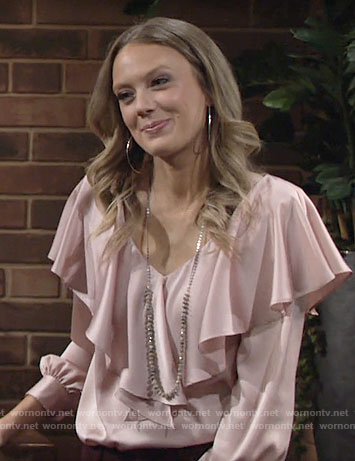 Abby's pink ruffle overlay blouse on The Young and the Restless