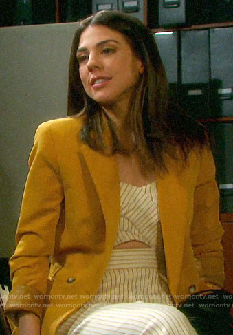 Abigail's striped cutout jumpsuit and mustard yellow blazer on Days of our Lives