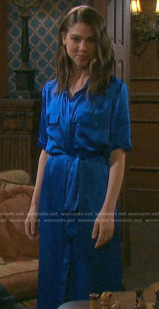Abby's blue NYE shirtdress on Days of our Lives