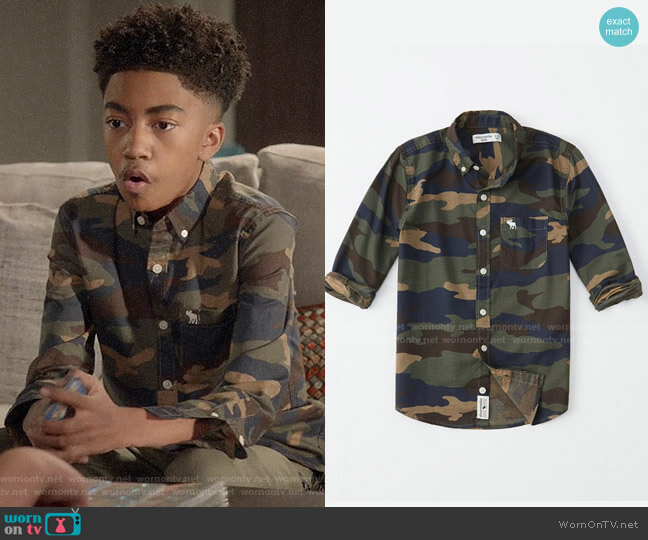Abercrombie Camo Preppy Shirt worn by Jack Johnson (Miles Brown) on Blackish