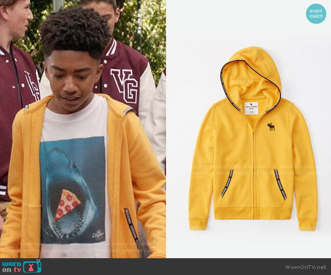 Abercrombie Logo Tape Full Zip Hoodie worn by Jack Johnson (Miles Brown) on Blackish