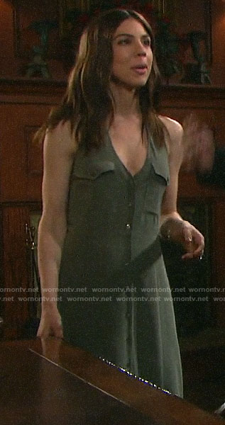 Abigail's green button front maxi dress with pockets on Days of our Lives
