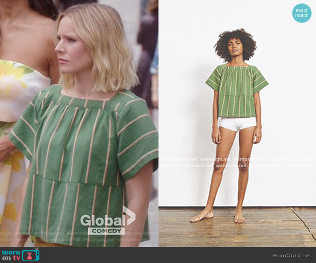 Ace & Jig Vista Top in Cactus worn by Eleanor Shellstrop (Kristen Bell) on The Good Place