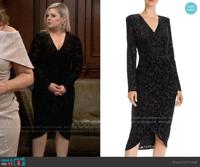 Adrianna Papell Metallic Velvet Faux-Wrap Dress worn by Maxie Jones (Kirsten Storms) on General Hospital