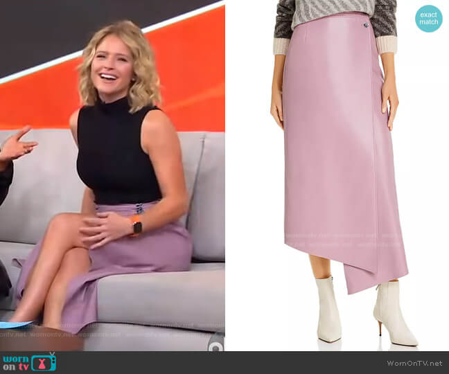 Lucilla Faux-Leather Wrap Skirt by Aeron worn by Sara Haines  on Good Morning America
