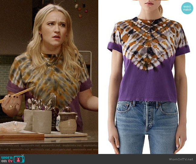 Agolde Tie Dye Baby Tee worn by Roxy Doyle (Emily Osment) on Almost Family