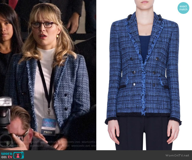 Akris Punto Fringe Tweed Blazer worn by Kara Danvers (Melissa Benoist) on Legends of Tomorrow