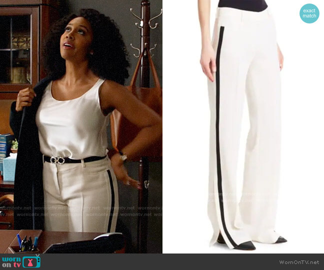 Akris Punto Mikka Side Stripe Wool Trousers worn by Lola Carmichael (Simone Missick) on All Rise