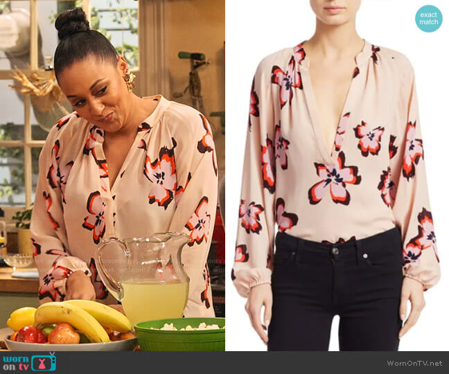 ALC Jules Floral Blouse worn by Cocoa McKellan (Tia Mowry-Hardrict) on Family Reunion