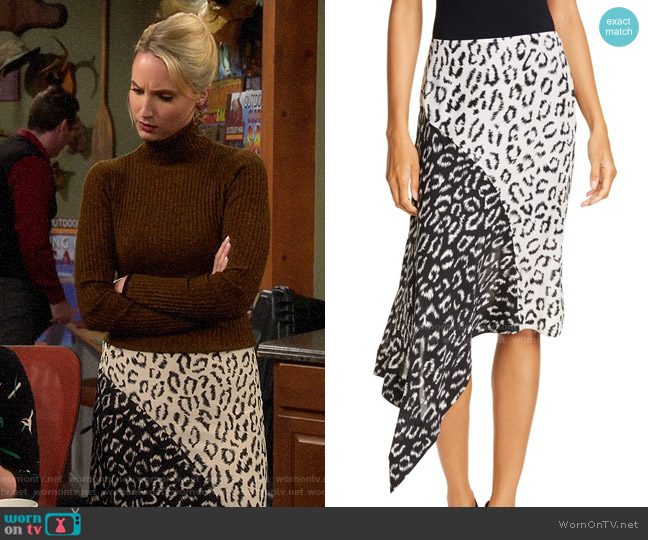 A.L.C. Natalie Leopard Print Asymmetrical Colorblock Skirt worn by Mandy Baxter (Molly McCook) on Last Man Standing